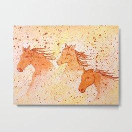 Three horses run in the desert. Original painting. Metal Print