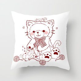 The Adventures of Bear and Baby Bear-Cats Throw Pillow