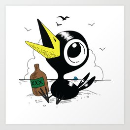 Drinky Crow! Art Print