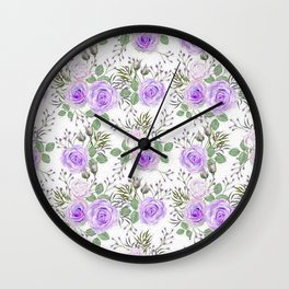 Purple Roses, Shabby Floral Wall Clock