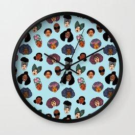 Black Hair Magic - Blue Wall Clock