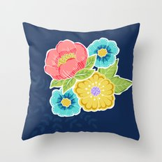 Floral Beauty - Midnight Throw Pillow