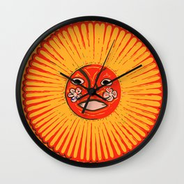 The sun Huichol art Wall Clock