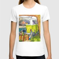 volkswagon T-shirts featuring VW Bus Campsite by Barb Laskey Studio