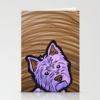 westie Stationery Cards featuring Purple Westie by Gianna Brucato