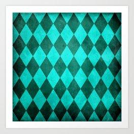 Dark Turquoise Harlequin Grunge Art Print
