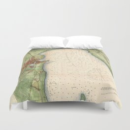 Vintage Map of Plattsburgh New York (1872) Duvet Cover