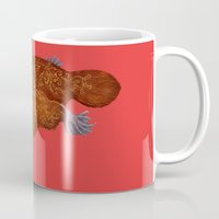 platypus Mugs featuring Platypus red by Megan Elphick