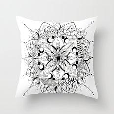 Mandala Art, India, Geometric, Tribal Art, Black and white Throw Pillow