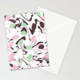 Stirred colors on white Stationery Cards