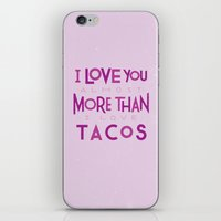 taco iPhone & iPod Skins featuring Taco Valentine by Josh LaFayette