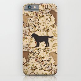 Labs of chocolate, blonde, and black iPhone Case