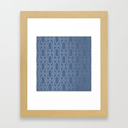 Simply Mid-Century in White Gold Sands and Aegean Blue Framed Art Print