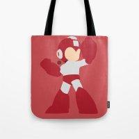 mega man Tote Bags featuring Mega Man(Smash)Red by samaran
