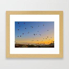 Colorful hot air balloons against blue sky at Cappadocia Turkey Framed Art Print