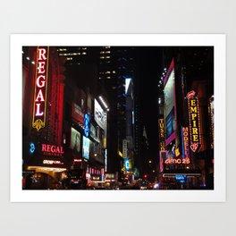 42nd Street by night, NYC Art Print