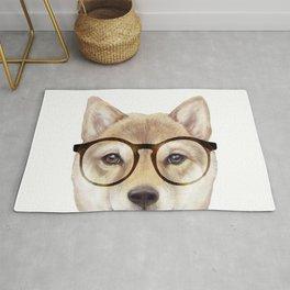 Shiba inu with glasses Dog illustration original painting print Rug