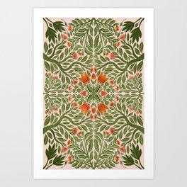 Folk Inspired Florals Art Print