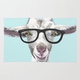 Goat with Glasses, Cute Farm Animal Rug