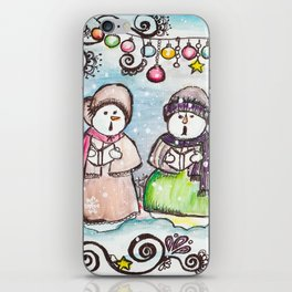 Holiday Snowman Singing Trio iPhone Skin