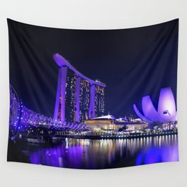 Blue Singapore by #Bizzartino Wall Tapestry