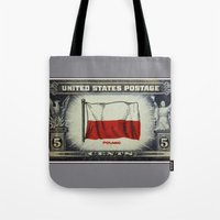 poland Tote Bags featuring Flag of Poland by lanjee