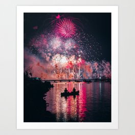 4th of July on the Charles Art Print