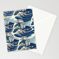The Great Wave of Pug Pattern Stationery Cards
