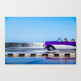 Waves and Classic Cars of the Malecón - 4 Canvas Print