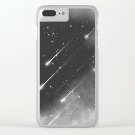 Monochrome space. Starfall. Night starry sky. Clear iPhone Case