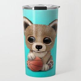 Cute Baby Bear Playing With Basketball Travel Mug