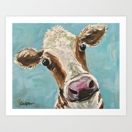 Cow Art Print, Up close cow art Art Print