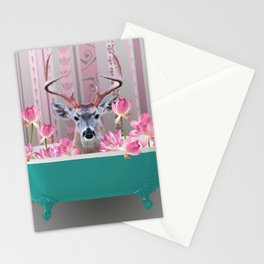 Reindeer turquoise Bathtub pink Lotos Flower Blossoms Stationery Cards