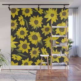 Sunflowers Acrylic on Charcoal Wall Mural