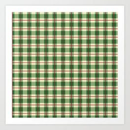 Plaid Pattern in Green and Beige Art Print