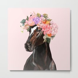 Horse with Flowers Crown in Pink Metal Print