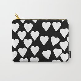 Hearts White on Black Carry-All Pouch
