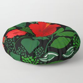 Seamless floral pattern, red Hibiscus with tropical plants on black background. Floor Pillow