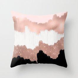 Girly Modern Rose Gold Pink Glitter Brushstroke Art Throw Pillow