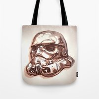 storm trooper Tote Bags featuring Storm Trooper by scottpratherpaints