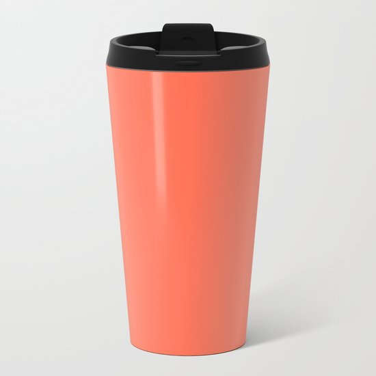 Simply Deep Coral Metal Travel Mug