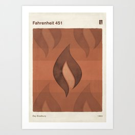"Ray Bradbury ""Fahrenheit 451"" - Minimalist illustration literary design, bookish gift Art Print"
