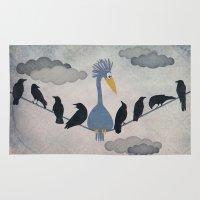 """pixar Area & Throw Rugs featuring For """"The Birds"""" by Robert Scheribel"""