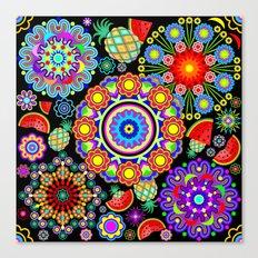 Mandalas & Exotic Fruits Pattern Canvas Print