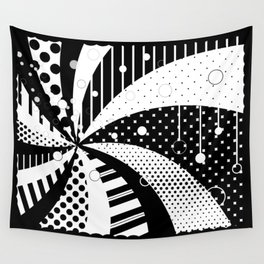B/W Stripes and Polka Dots Graphic Art Wall Tapestry