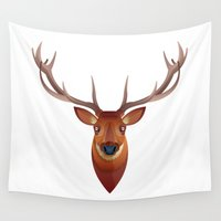 stag Wall Tapestries featuring Stag by James Boast
