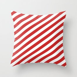 Red and White Candy Cane Stripes, Thick Angled Lines Festive Christmas Throw Pillow