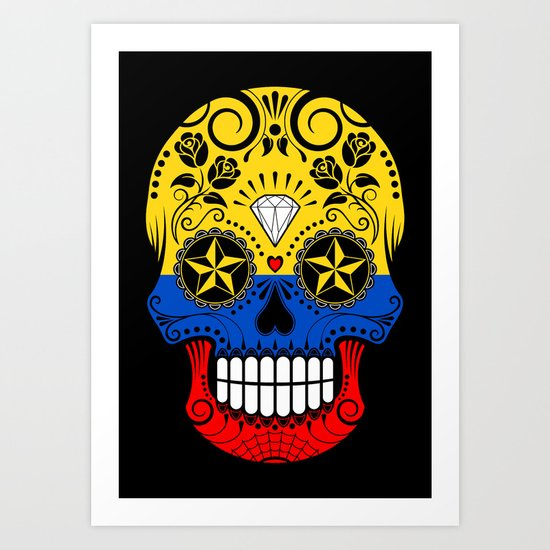 Sugar Skull with Roses and Flag of Colombia Art Print by jeffbartels ...