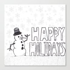 Snowman (Happy Holidays) Canvas Print