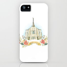 Gilbert Arizona LDS watercolor Temple with flower wreath  iPhone Case